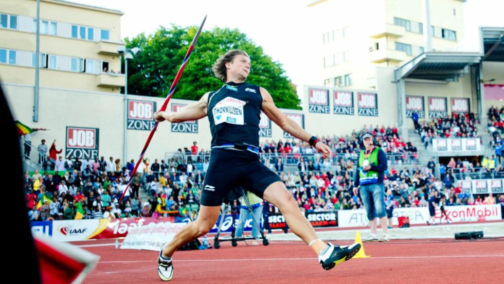 JEVNT SVAKT: Andreas Thorkildsen kastet stabilt rundt 81-82 meter, men var langt unna den tsjekkiske vinneren Viteslav Vesely, som satte årsbeste i verden med 88,11. Foto: Thomas Rasmus Skaug / Dagbladet