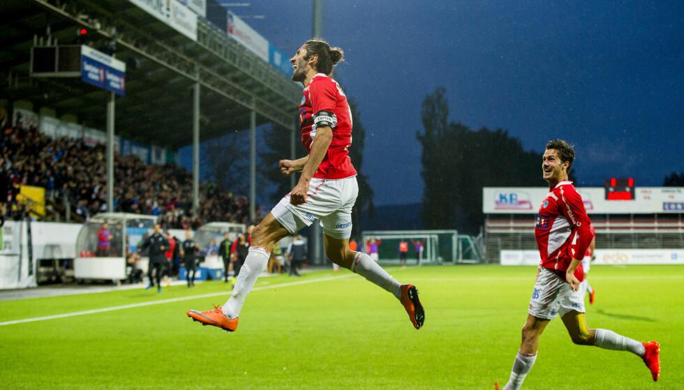 SCORET: Adam Güven, her fra oppgjøret mot Sandefjord tidligere i år, scoret mot Mjøndalen Foto: Vegard Wivestad Grøtt / NTB scanpix