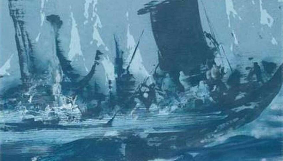 SVUNNEN TID: En av de billedkunstnerne som har forsøkt å uttrykke volden og konfliktene i vikingtida, er Håvard Vikhagen, med sin visjon av slaget ved Hjørungavåg på slutten av 900-tallet. Bildet er gjengitt    med tillatelse fra kunstneren.