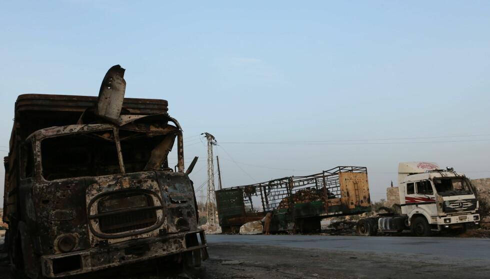 LUFTANGREP: Mandag denne uka ble en nødhjelpskolonne på vei til syriske Aleppo bombet. Foto: NTB/Scanpix