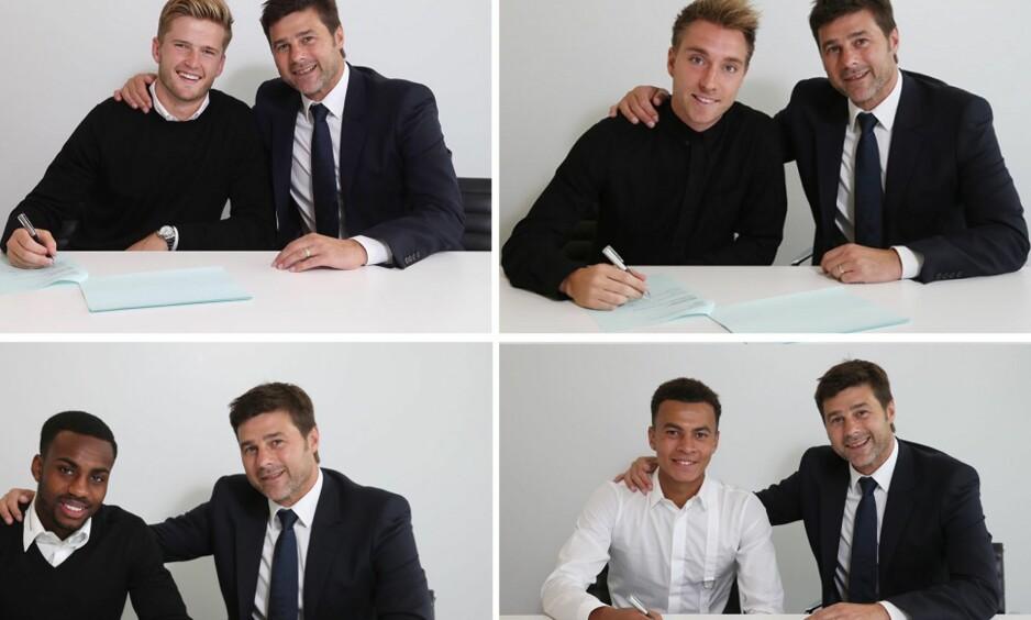 VELDIG LIK: Mauricio Pochettino er nesten helt lik på alle bildene, som er tatt med noen ukers mellomrom. Foto: Tottenhams offisielle hjemmeside