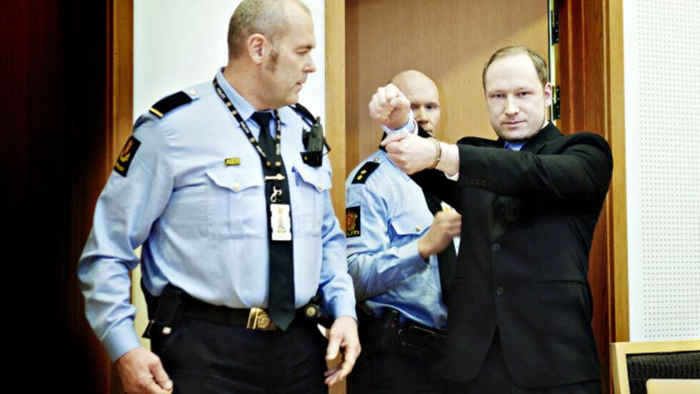 HILSEN:   Anders Behring Breivik utførte en hilsen i retten, som hans forsvarer Geir Lippestad sier var en type høyreekstrem hilsen. Breivik gjorde forsvarerne klar over at han ønsket å gjøre denne hilsenen før de sammen gikk inn i rettssal 828 i Oslo tinghus. Foto: Nina Hansen / Dagbladet