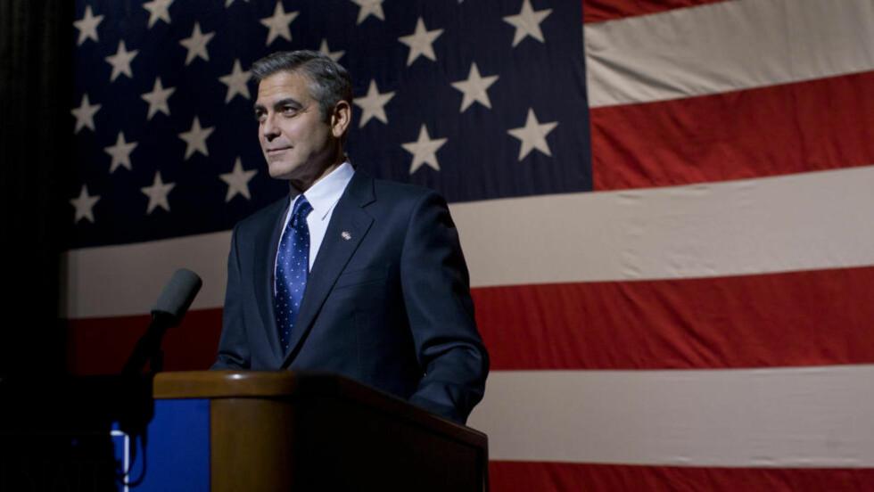 VIL BLI PRESIDENT: George Clooney spiller presidentkandidaten Mike Morris i «Maktens menn», en stram og underholdende film om uskyld som går tapt. Clooney har også regissert filmen, og er en av manusforfatterne.