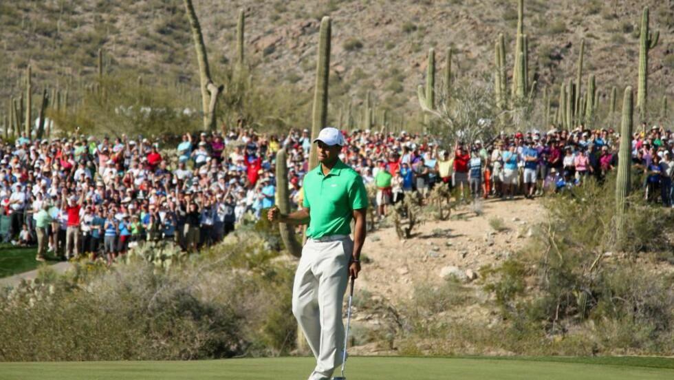 SLET: Tiger Woods slet seg inn i kampen etter en dårlig start og gikk så vidt videre fra 1. runde i matchplaymesterskapet i golf onsdag. Foto: Christian Petersen/Getty Images/AFP