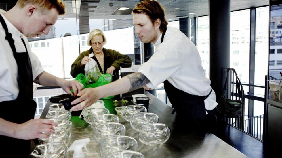 I arbeid: Edle Catharina Norman plukker urter i marka og leverer til de beste restaurantene i Oslo. Her er hun sammen med sousssjef Johan Laursen og kjøkkensjef Esben Holmboe Bang på Maemo. FOTO: ADRIAN ØHRN JOHANSEN/ DAGBLADET