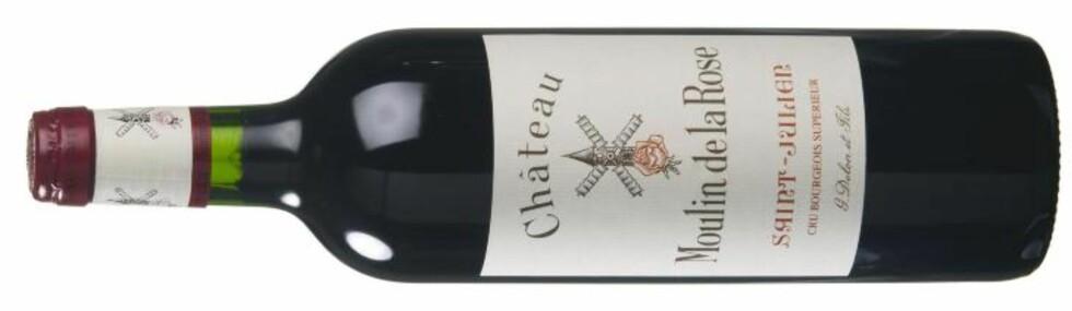 KLASSISK: 345 kroner koster Château Moulin de la Rose - og dette er en billig St. Julien-vin (i Norge).