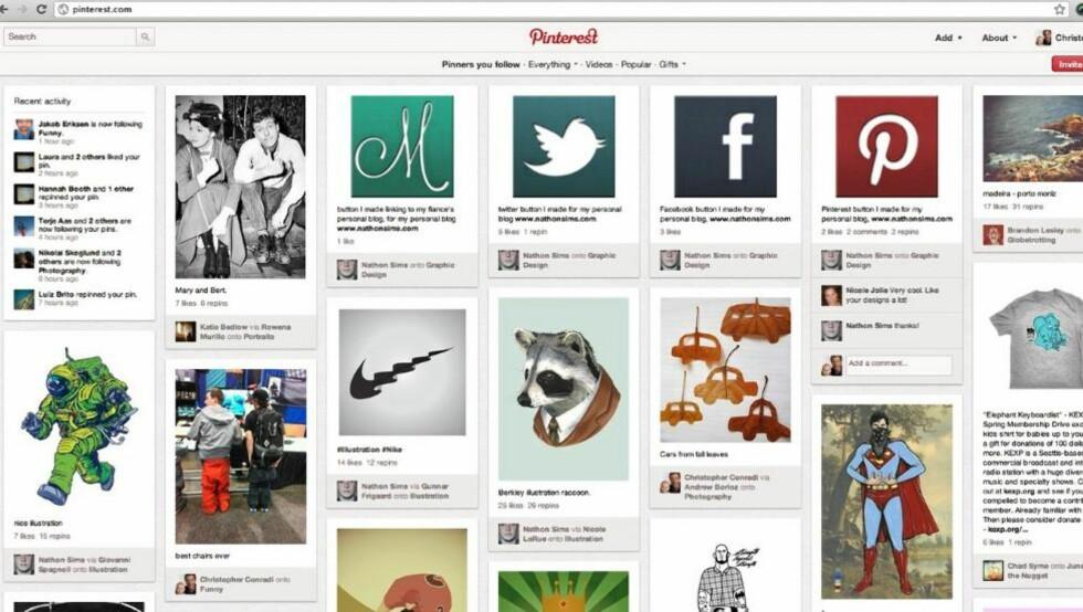 FORSIDEN: Slik ser forsiden til Pinterest ut. Bildene er et utvalg fra venners bilder og temaer man kan abonnere på. Faksimile: HjemmePC