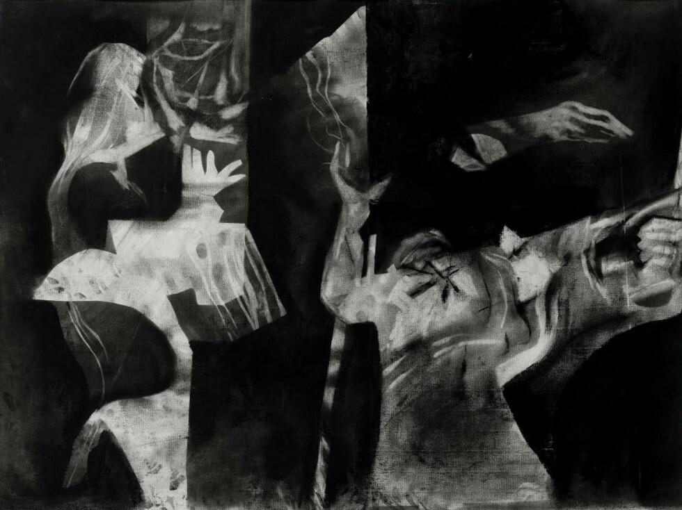 «OPPBRUDD»: Denne kubistiskinspirerte kullstifttegningen i Kunstnerforbundets Bleken-utstilling bringer tankene til «Guernica». Foto: Kunstnerforbundet.