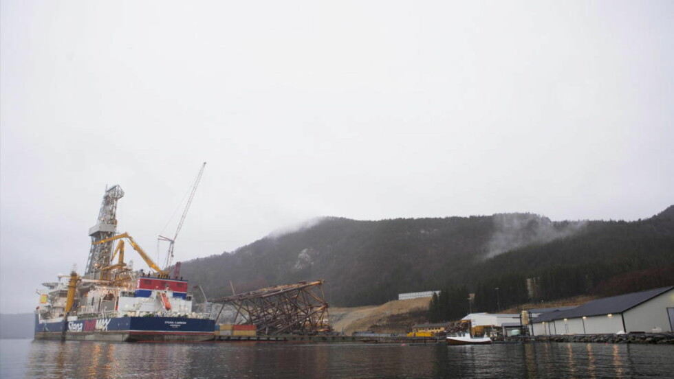 HØYE KVIKKSØLVNIVÅER:  Kvikksølvmålinger rundt AFDecoms mottaksanlegg for utrangerte oljeinstallasjoner skaper debatt i Vats.  Foto:Marius Viken.
