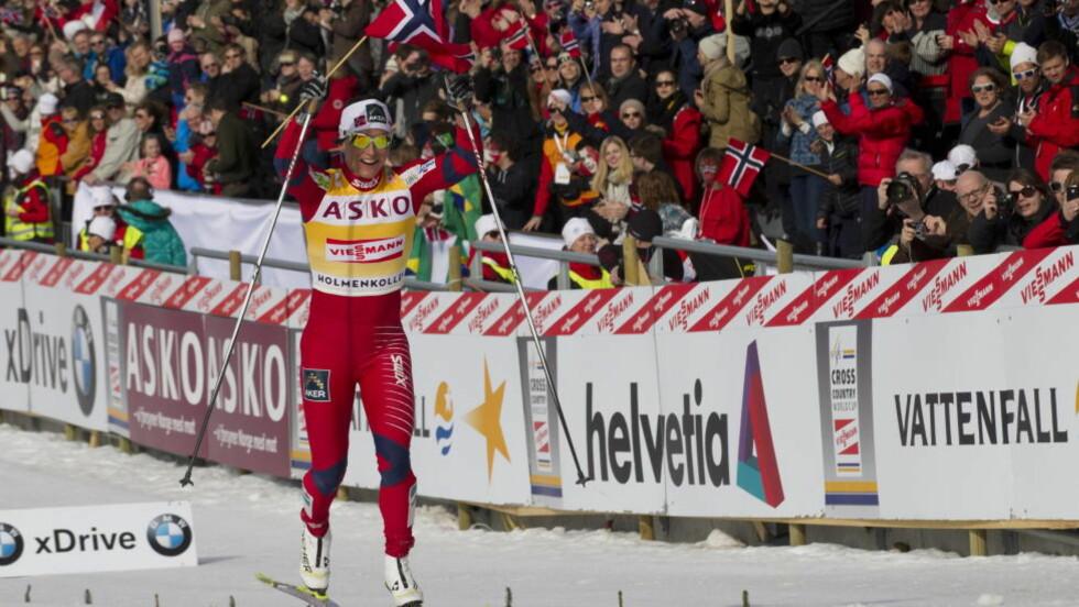 VANT: Marit Bjørgen vant tremila i  Holmenkollen. Foto: Terje Bendiksby / Scanpix