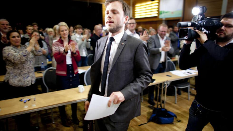 FØRSTE TALE: Audun Lysbakken holdt sin første tale som SV-leder i dag. Foto: Sveinung U. Ystad, Dagbladet