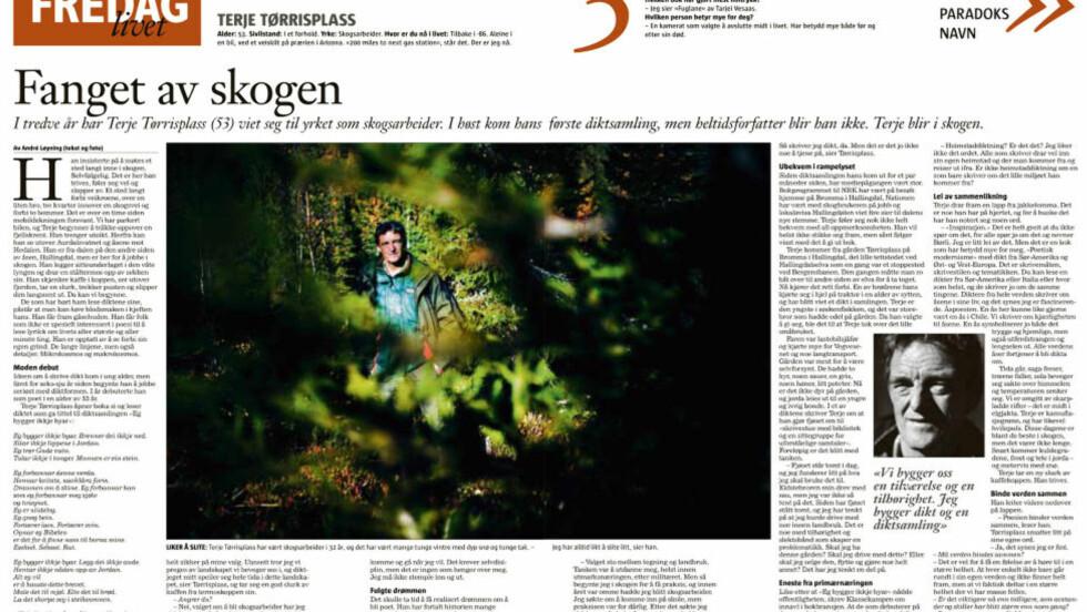 MÅNADENS POET: Terje Tørrisplass fekk mye merksemd då han debuterte i bokform i fjor haust. Her snakkar den skogskjære, naturnære poeten om skriving og skogarbeid i eit intervju med Klassekampen. Faksimile: KLASSEKAMPEN