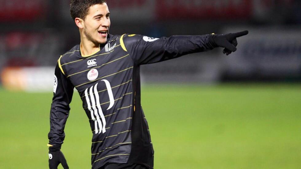 STORTALENT: Eden Hazard (21) er i Manchester Uniteds søkelys. I helga var Alex Ferguson på tribunen da Lille møtte Lyon. Foto: EPA / Mathieu Cugnot / Scanpix
