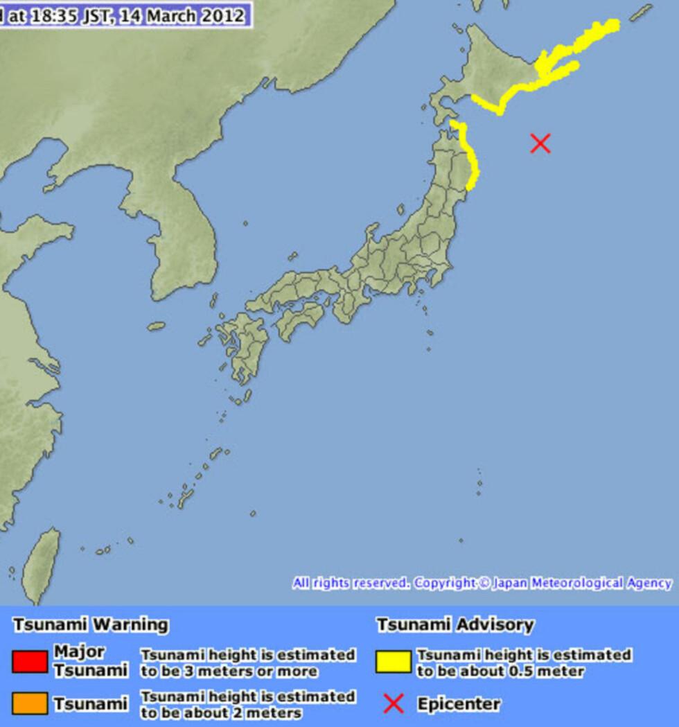 Tsunamivarsel i Japan etter kraftig skjelv