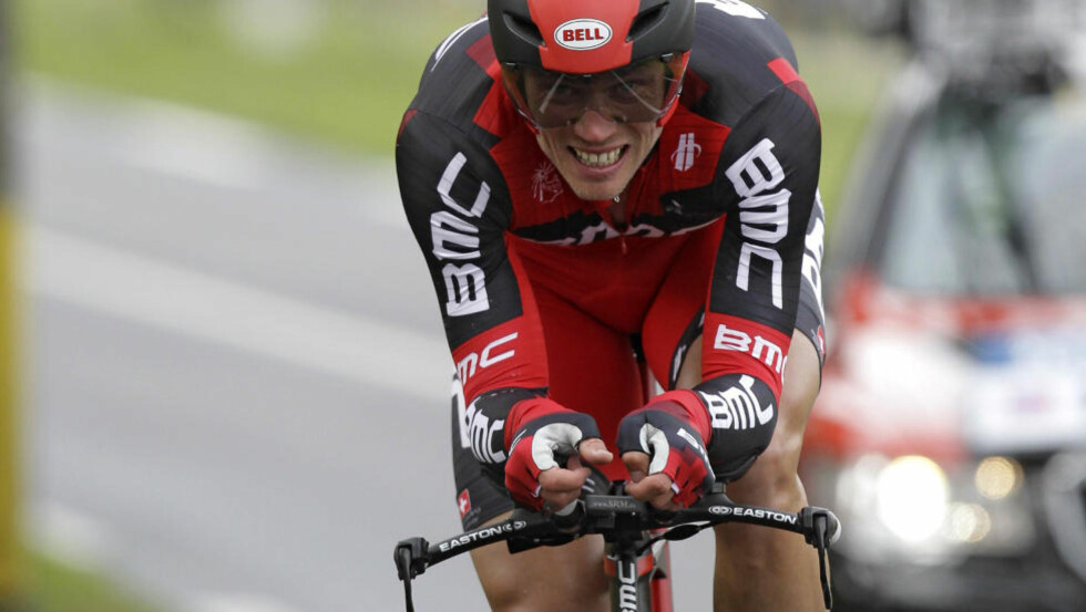 Thor Hushovd of Norway cycles during the against o'clock leg, in Saint-Remy-les-Chevreuse, western France,in the first stage of the Paris-Nice cycling race, Sunday, March 4, 2012. (AP Photo/Lionel Cironneau)
