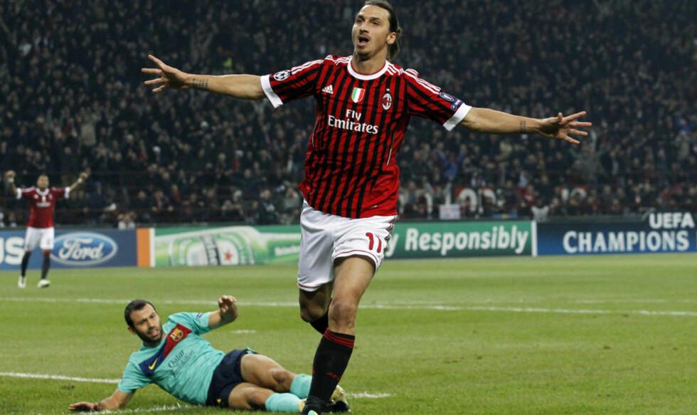 SCORET MOT BARCA: Zlatan Ibrahimovic og Milan scoret totalt fire mål på to kamper mot Barelona i gruppespillet. Nå møtes de igjen. Foto: REUTERS/Alessandro Garofalo