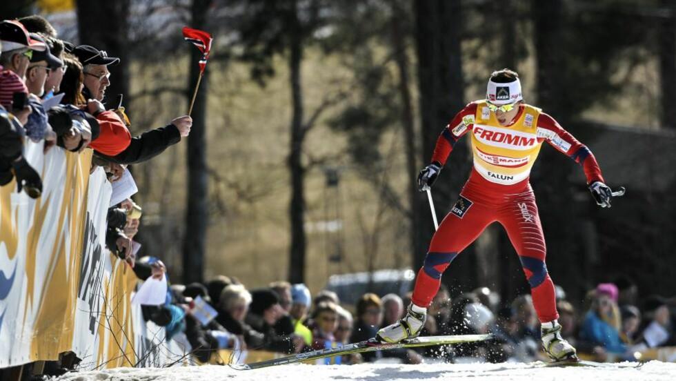 QUEEN OF MÖRDARBACKEN: Marit Bjørgen er utsoppelig. I dag var hun raskest i den beryktede Mördarbacken i Falun, og vant igjen. Foto: Anders Wiklund/AP/Scanpix