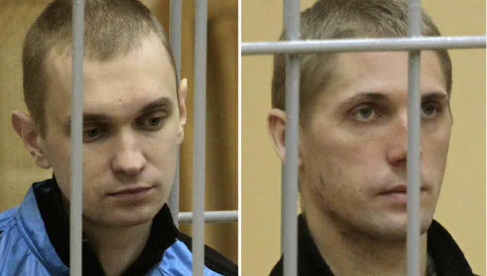 BLE SKUTT: Vladislav Kovalyov (til høyre) og Dmitry Konovalov som satt i et bevoktet bur under rettssaken i Minsk i september 2011, ble i november i fjor funnet skyldig i å ha gjennomført bombing av en t-banestasjon i Minsk samme år. Bevis tyder på at de er uskyldig dømt. De to mennene, begge 26 år, ble lørdag skutt i bakhodet da straffen ble gjennomført. 26-åringenes familier har levd i det uvisse i forhold til når henrettelsen skulle skje. FOTO:REUTERS/Vasily Fedosenko