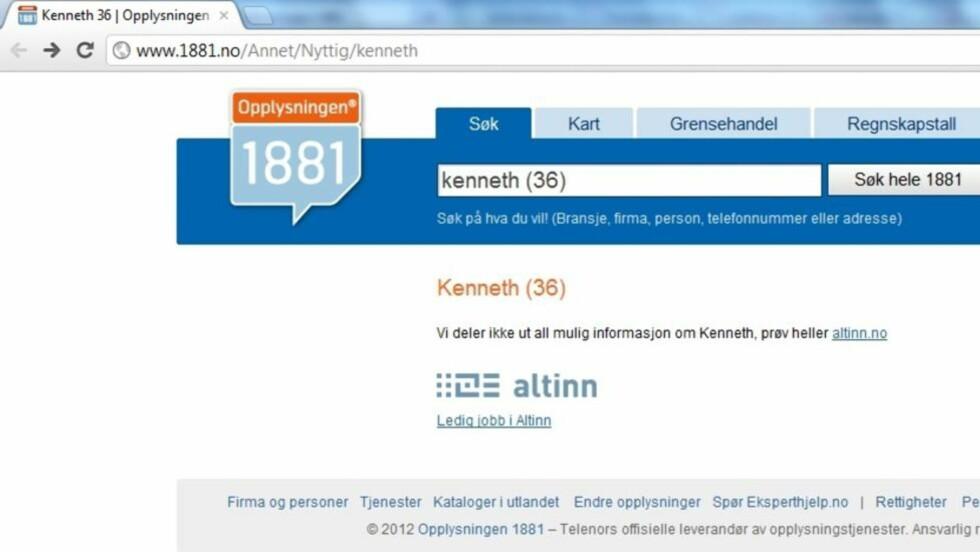 """IKKE ALT: """"Vi kan hjelpe deg med nesten alt"""" er slagordet til 1881. Vil du ha informasjon om Kenneth (36) må du henvende deg til Altinn. Skjermdump: 1881"""