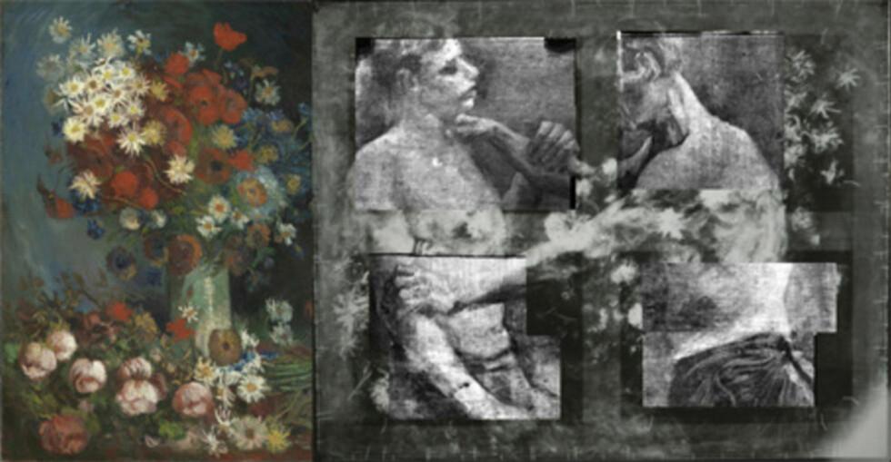 SAMME BILDE : Blant annet ved å studere det underliggende maleriet av to wrestlere (t.h) kunne ekspertene fastslå at det var snakk om et genuint Van Gogh-maleri. Foto: REUTERS