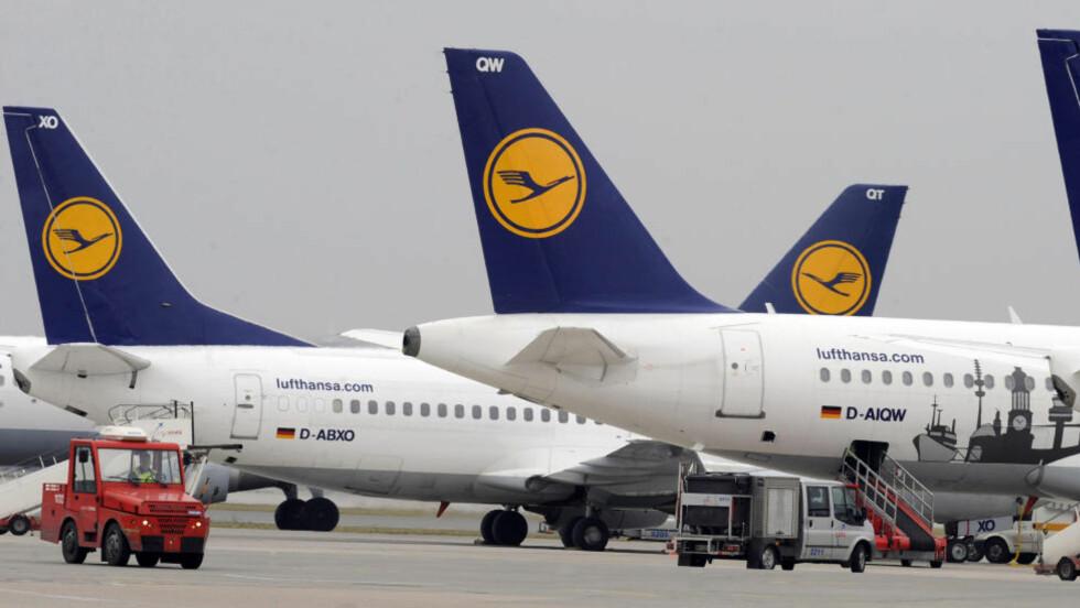RAMMES: Flyvninger med Air Berlin, SAS og Lufthansa fra Norge til Tyskland kan rammes av dagens streik. Foto: REUTERS/Fabian Bimmer/Scanpix