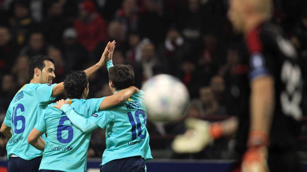 VANT SIST GANG: Barcelona vant 3-2 på San Siro da lagene møttes i gruppespillet. Foto: NTB SCANPIX