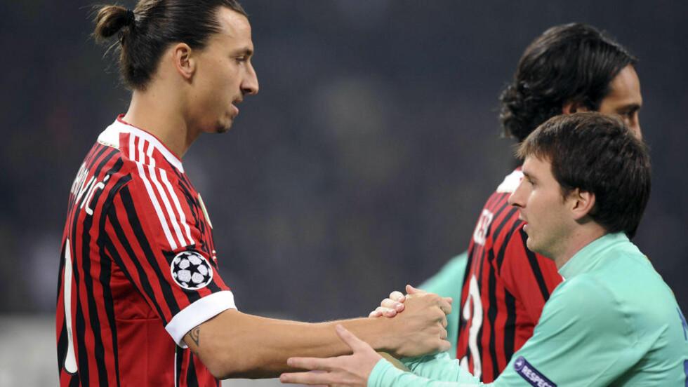 MØTES: Det er duket for storkamp på San Siro når Zlatan Ibrahimovic møter Lionel Messi. Foto: AP Photo/Antonio Calanni