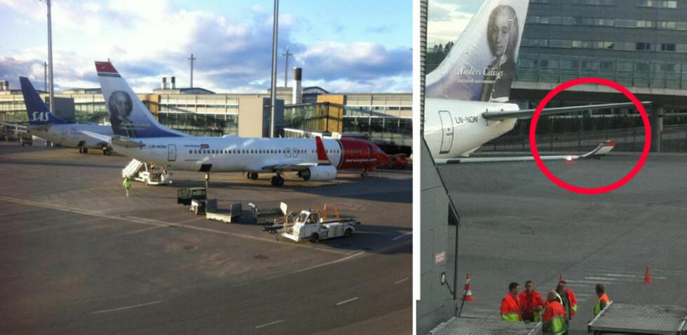 SAMMENSTØT: To fly støtte sammen ved vingetuppene under taksing på Gardermoen. Foto: DAGBLADET-TIPSER