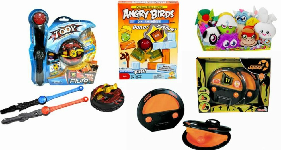 TRENDLEKER: En ting er sikkert. Det er ikke foreldrene alene som bestemmer hvilke leker barna får dilla på... Blant de siste trendlekene er Beyblade med batteri, Angry Birds-produkter, Moshi Monsters og kanskje Squap, en ny type uteleke.  FOTO: Produsentene