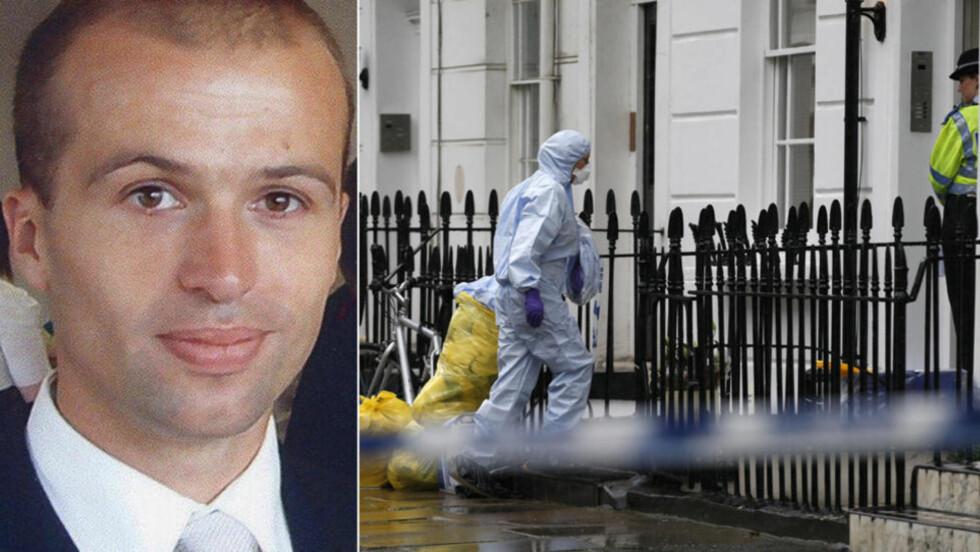 FUNNET DREPT I SPORTSBAG: Den britiske kodeknekkeren Gareth Williams (31) ble i august 2010 funnet drept i en North Face-bag i badekaret i leiligheten han disponerte i Pimlico i London. Familien tror hemmelig agent kan ha drept ham. Foto: AP/Reuters/Toby Melville/Scanpix NTB