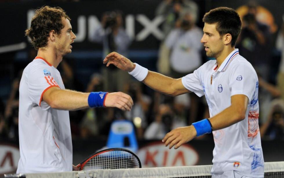 FINALEMOTSTANDERE: Novak Djokovic (t.h.) møter Andy Murray i finalen av ATP Masters-turneringa i Miami.Foto: AFP PHOTO / PAUL CROCK / NTB scanpix