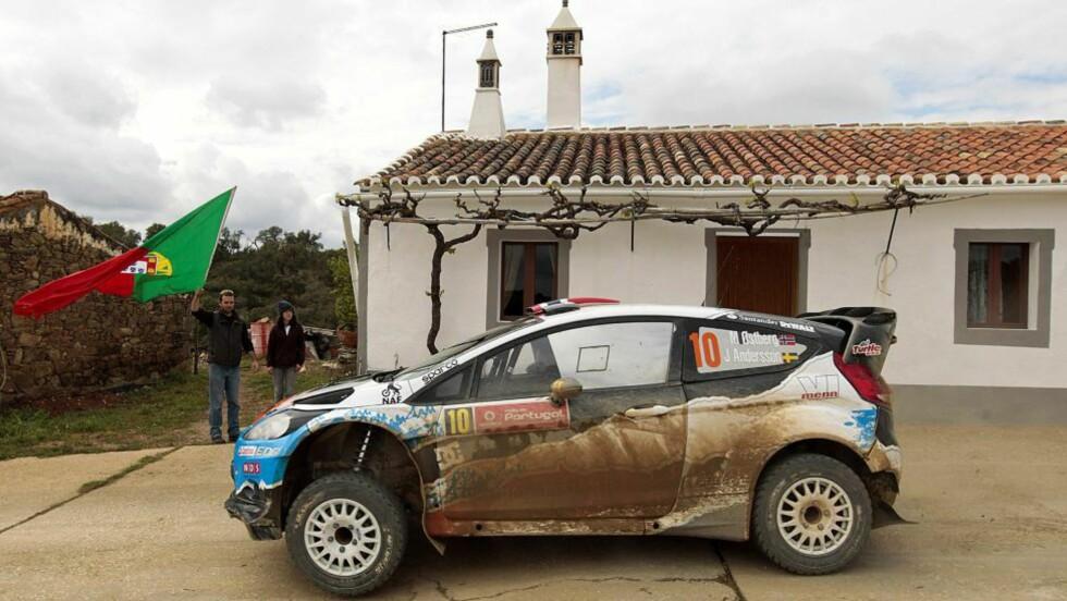 PÅ PALLEN: Mads Østberg endte på en flott annenplass i Rally Portugal. Foto: EPA/LUIS FORRA/NTB scanpix