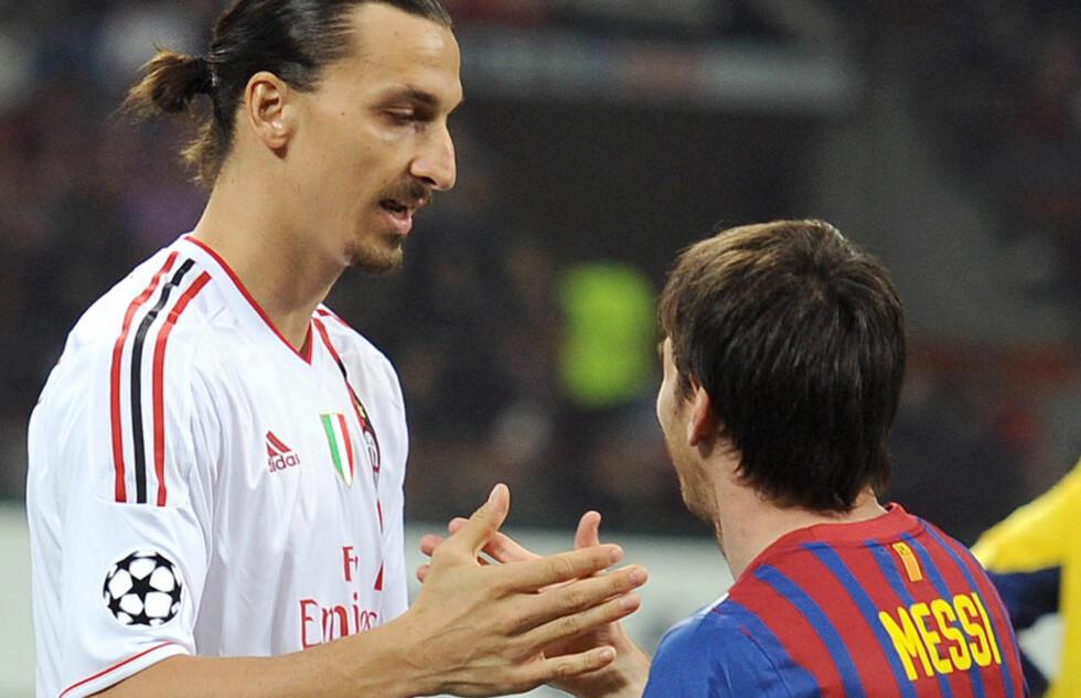HYLLER MESSI: Men Zlatan Ibrahimovic tror argentineren kunne vært enda bedre om han også brukte høyrefoten sin. Foto:     AFP PHOTO / OLIVIER MORIN