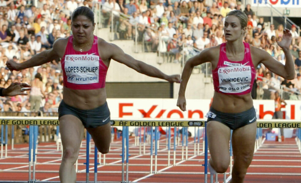 IKKE GULLKANDIDAT? Priscilla Lopes-Schliep fra Canada vant OL-bronse i 2008. Her løper hun mot Christina Vukicevic under Bislett Games 2009. Foto: Lise Åserud / SCANPIX .