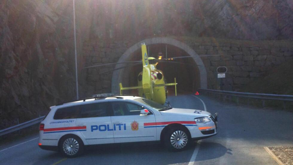 MELDTE SEG: Sjåføren som kjørte på og drepte en 40-årig mann i Bukkesteintunnelen ved Lyngdal, er nå siktet for uaktsomt drap. Foto: Henrik Foss, Farsunds Avis.