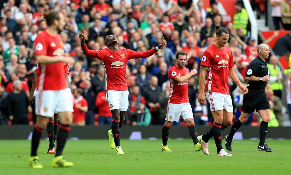 KNUSTE LEICESTER: Paul Pogba scoret et av Manchester Untieds fire mål da laget briljerte på Old Trafford. Foto: Scanpix