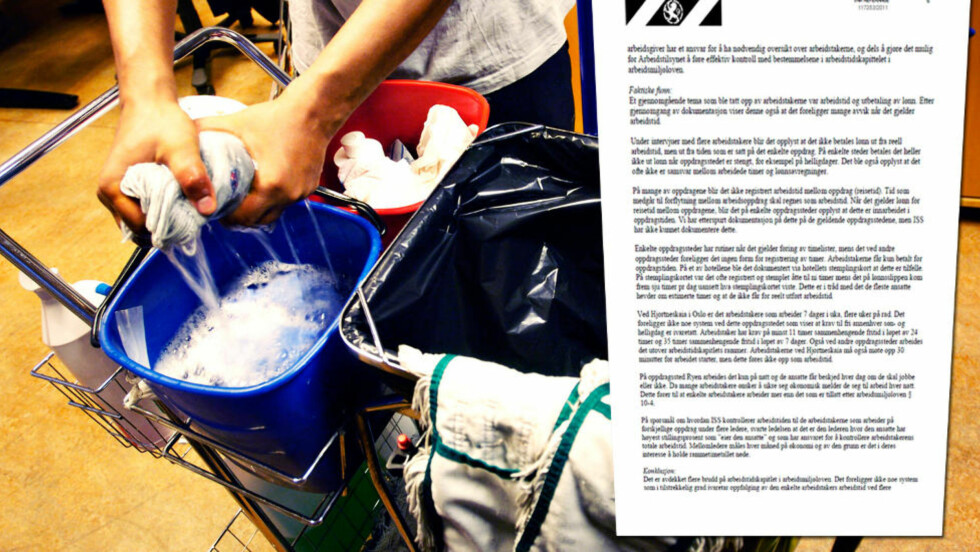 OMFATTENDE LOVBRUDD: Renholdsgiganten ISS begår omfattende brudd på arbeidsmiljøloven. Det kommer fram i en ny tilsynsrapport fra Arbeidstilsynet, som Dagbladet har fått tilgang til. Ilustrasjonsfoto: DAGBLADET