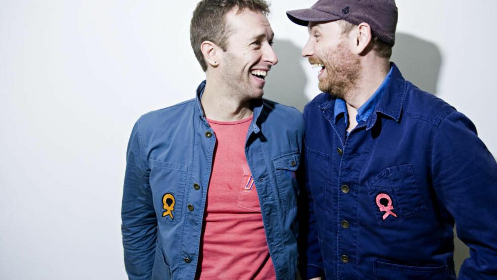 ENDELIG: Etter å ha avlyst det planlagte norgesbesøk i begynnelsen av november, entret Coldplay Sentrum Scene i går. Her vokalist Chris Martin og gitarist Jonny Buckland. Foto: Benjamin A. Ward / Dagbladet