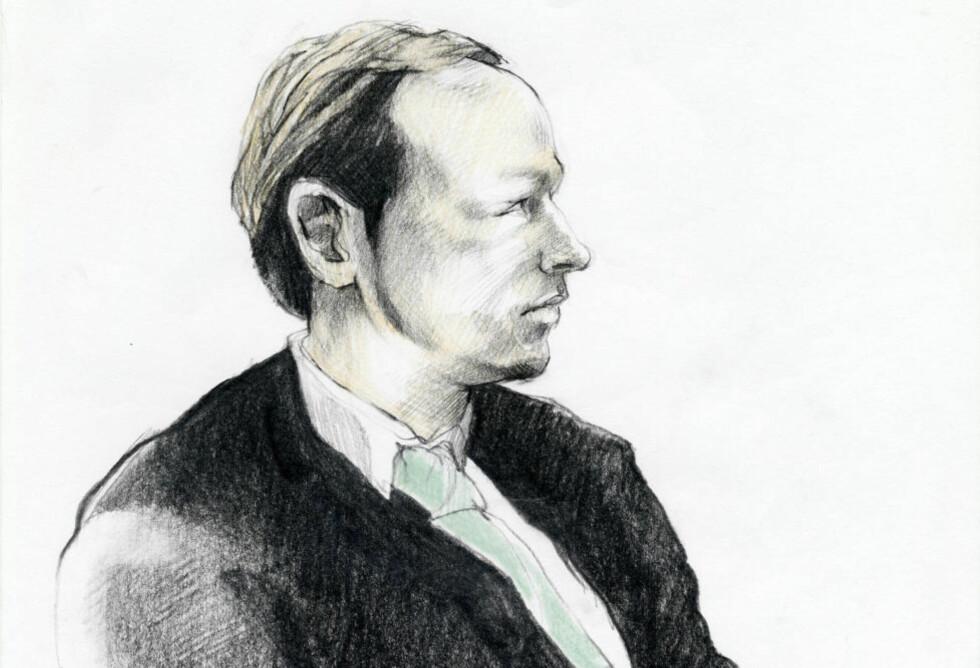 PÅ MANGE MÅTER ET BARN: «Anders Behring Breivik er et skadet menneske. Han har aldri nådd en nevrotisk struktur som deg og meg,» skriver kronikkforfatteren. Tegning: Esther Maria Bjørneboe / NRK