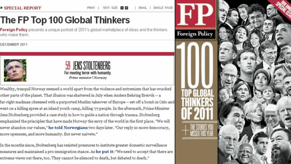 PRISES SOM VERDENSTENKER: I Foreign Policys anerkjente liste over verdens viktigste verdenstenker havner Jens Stoltenberg på 59. plass. (Faksimile)