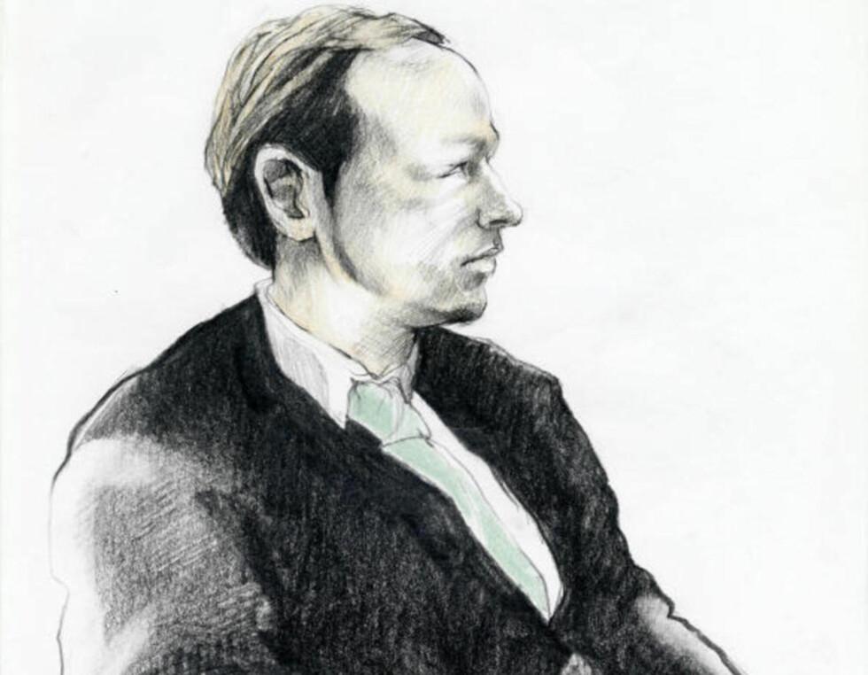 IKKE TILREGNELIG: De rettssakkyndige erklærte i dag Anders Behring Breivik ikke tilregnelig. Blir den konklusjonen stående, vil terroristen dømmes til tvungent psykisk helsevern. Tegning: Esther Maria Bjørneboe / NRK