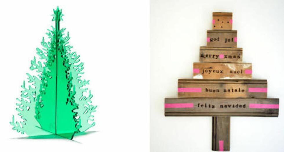 <strong>DU GRØNNE PLEKSIGLASSTRE:</strong> Disse utradisjonelle juletrærne kan selv allergikere ha i hus.  Foto: Produsenten