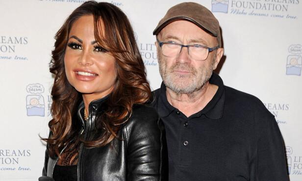 SAMMEN IGJEN: Phil Collins og Orianne Collins stod i 2008 for tidenes dyreste skilsmisse i Storbritannia. Paret fant imidlertid tilbake til hverandre, og er her avbildet på et arrangement i juni. Foto: NTB / Scanpix