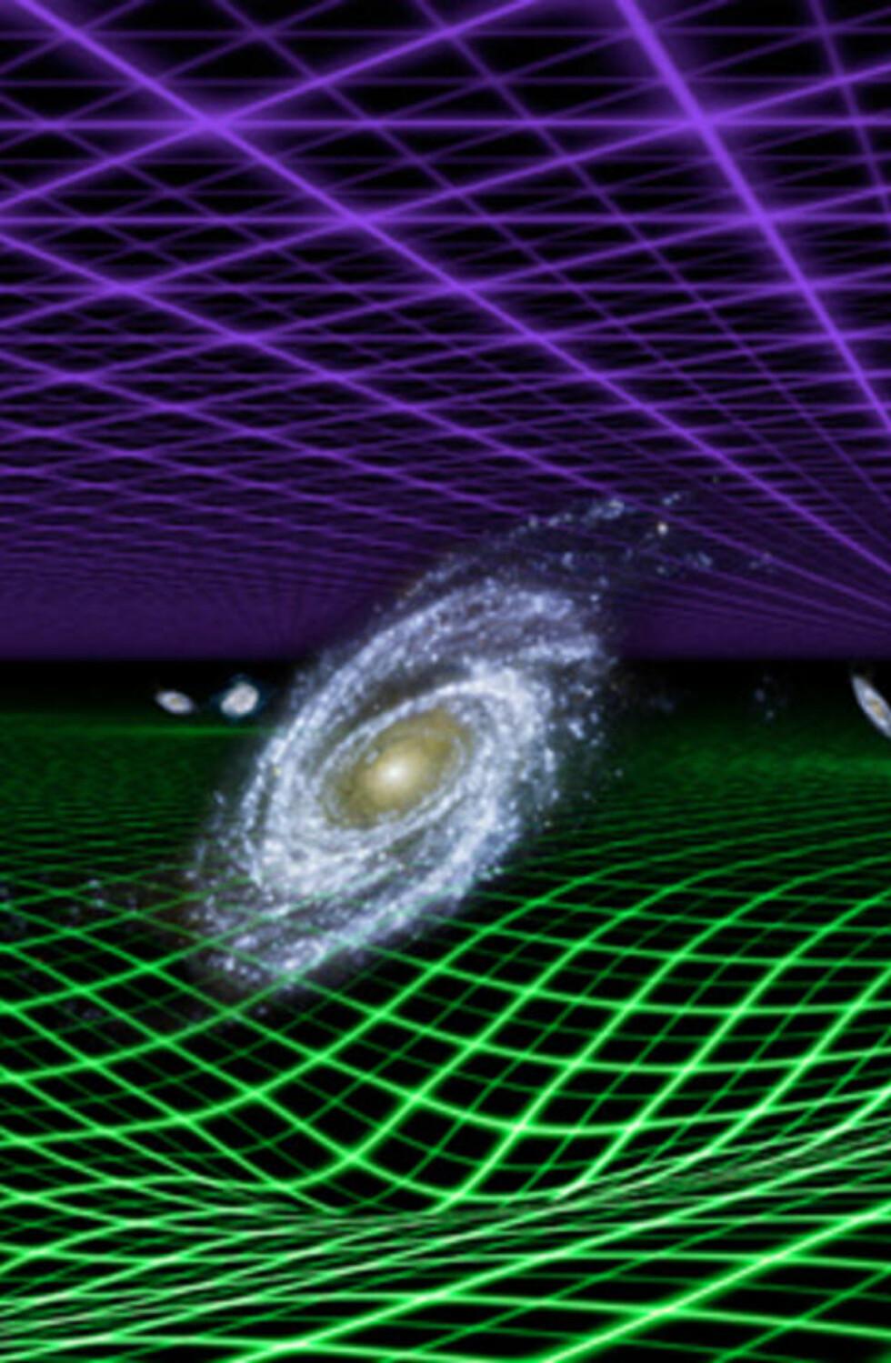 MØRKT OG MYSTISK: Det er mye forskere veit om universet, men enda mer er helt ukjent. Den såkalte mørke energien, som utgjør 70 prosent av innholdet i universet, er et av de største mysteriene. Prosjektet WiggleZ har kommet med viktige bidrag i løpet av året, noe som gir det en vel fortjent sjuendeplass. Grafikk: NASA/JPL-Caltech