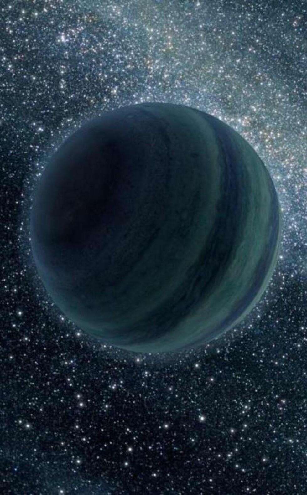 PLANET PÅ RØMMEN: Det kan finnes flere hundre milliarder Jupiter-liknende planeter som driver ensomt og alene rundt i Melkeveien, uten noe solsystem den kan kalle et hjem. Som trøst får de sjetteplass i kåringen av årets beste astronyheter. Grafikk: NASA/JPL-Caltech