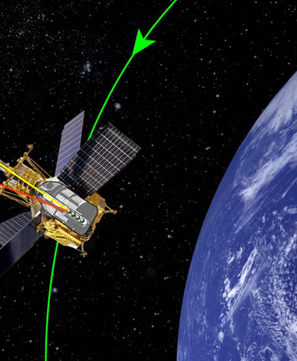 EINSTEINS VAFLER: I år ble analysen av dataene fra sonden Gravity Probe B ferdiganalysert og Einsteins «vaffelrøreeffekt» bekreftet. En soleklar femteplass! Grafikk: einstein.stanford.edu