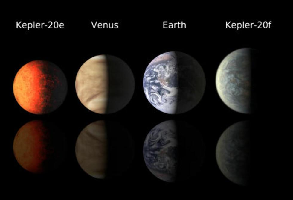 OG FØRSTEPLASSEN GÅR TIL... Planetjeget og satellitt: Keplers formidable innsats i 2011 har gjort at sonden løper inn til en førsteplass i kåringen av årets beste astronyheter. Et av hovedmålenen små, steinete planeter som likner jorda, i akkurat passe avstand til moderstjernen slik at det kan finnes flytende vann. I desember annonserte teamet tre såkalte eksoplaneter som var svært lik jorda i størrelse. Disse er de minste som så langt er funnet utenfor vårt eget solsystem. Foto: AP Photo/Harvard-Smithsonian Center for Astrophysics/SCANPIX