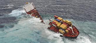 Grunnstøtt konteinerskip brakk i to