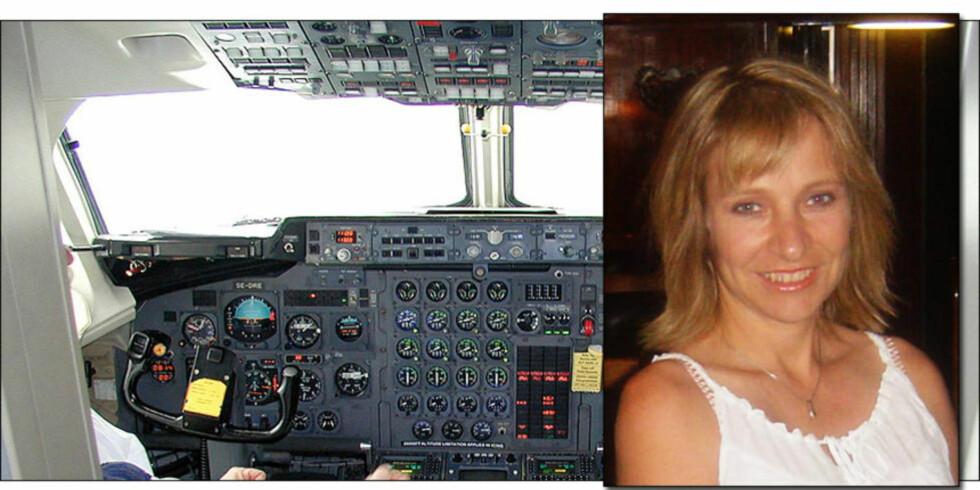 BAE 146: Flytypen BAe 146 har store problemer med forurenset luft i kabin og cockpit. Susan Michaelis (49) fløy denne flytypen, og har nå skader hun mener skyldes gifteksponering i fly. Foto: HAVARIKOMMISJONEN I SVERIGE/PRIVAT