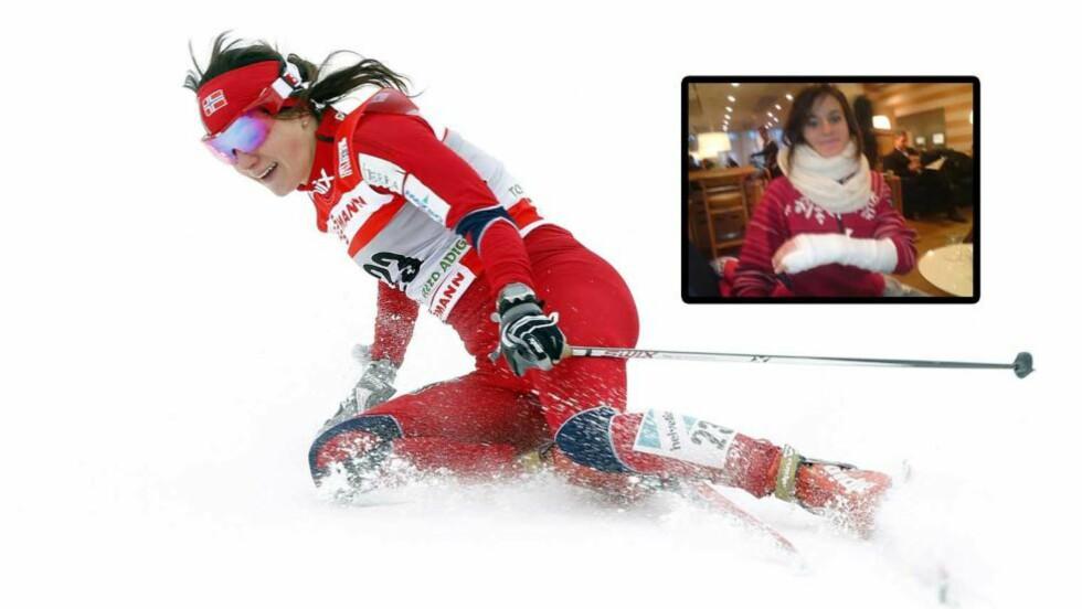 BRAKK FINGEREN: Langrennsløper Heidi Weng brakk lillefingeren på venstre hånd etter et fall i går. Nå går hun med en stor gips på hele hånda, men har likevel ikke gitt opp håpet om å gå NM som starter torsdag.  Foto: Lise Åserud / Scanpix og Privat.